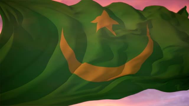 国旗のモーリタニア - ヌアクショット点の映像素材/bロール