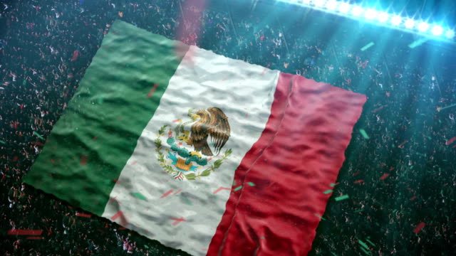 flag of mexico at the stadium - mexico stock videos & royalty-free footage