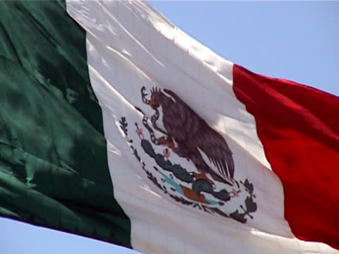 flag of mexico waving in the breeze - baja california peninsula stock videos & royalty-free footage