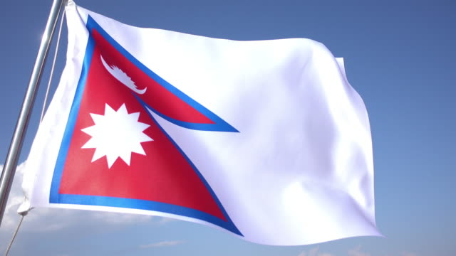 flag of nepal - nepali flag stock videos & royalty-free footage