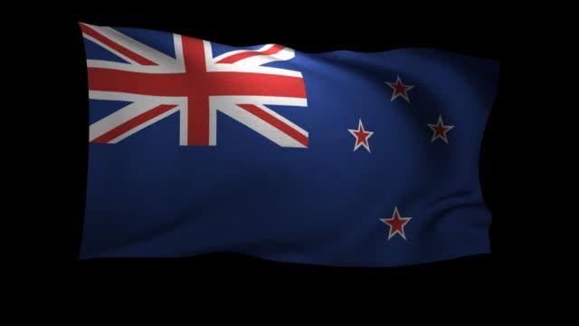 CGI Flag of New Zealand waving against black background