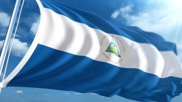 flag of nicaragua | loopable - nicaragua stock videos and b-roll footage