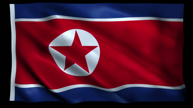 4k flag of north korea alpha loopable - north korea stock videos & royalty-free footage