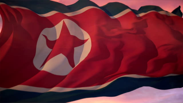 flag of north korea - nuclear weapon stock videos and b-roll footage