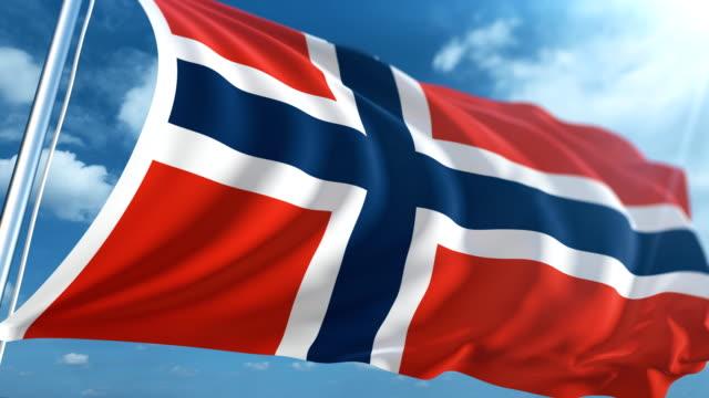 stockvideo's en b-roll-footage met vlag van noorwegen   loopbare - paalzitten