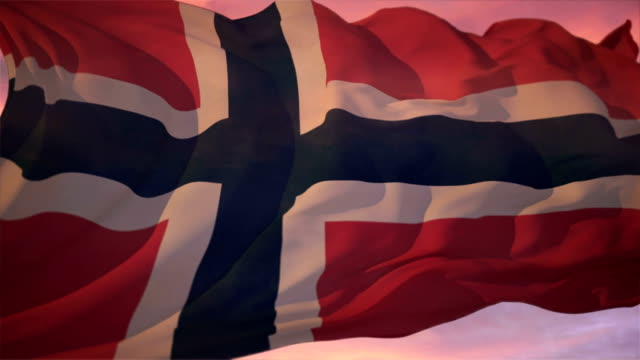 stockvideo's en b-roll-footage met flag of norway - nationaal monument beroemde plaats
