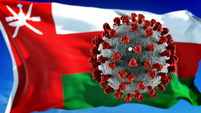 flag of oman with outbreak deadly coronavirus covid-19. loopable - micro organism stock videos & royalty-free footage