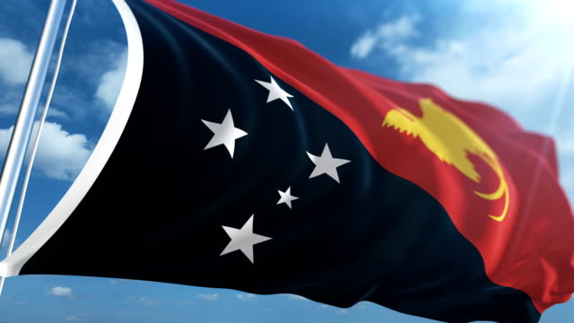 flag of papua new guinea   loopable - papua new guinea stock videos and b-roll footage