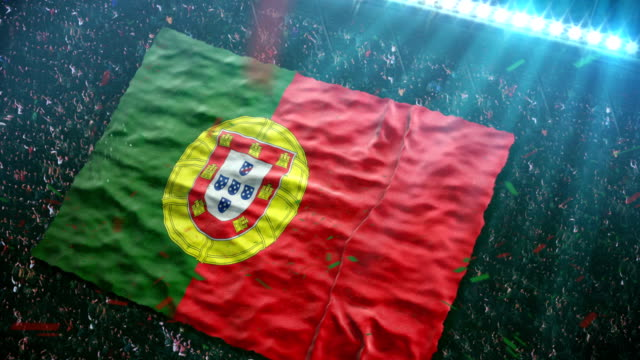 flag of portugal at the stadium - sports round stock videos & royalty-free footage