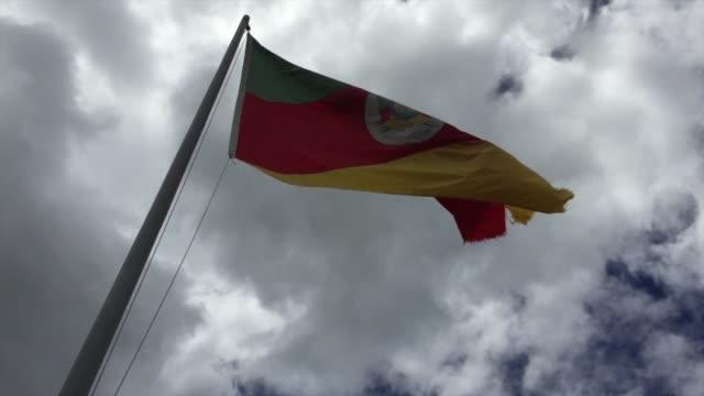 flagge von rio grande do sul, brasilien winkend - bundesstaat rio grande do sul stock-videos und b-roll-filmmaterial