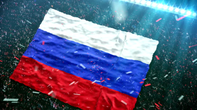 flag of russia at the stadium - russian culture stock videos & royalty-free footage