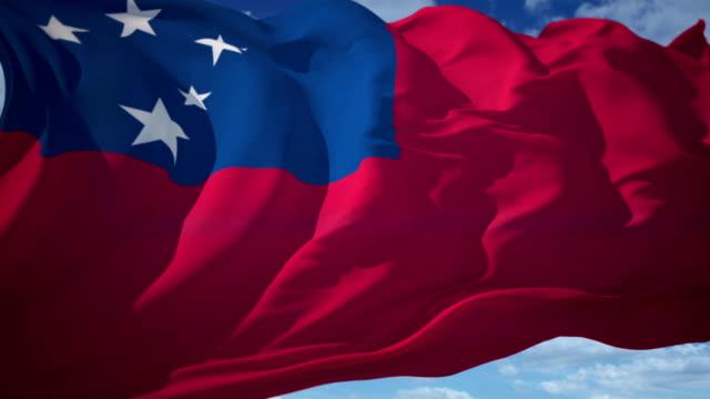 flag of samoa - samoa stock videos & royalty-free footage