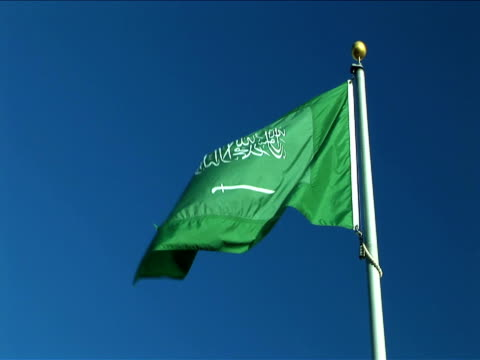 ms, la, flag of saudi arabia flapping against clear sky - saudi arabia stock videos & royalty-free footage