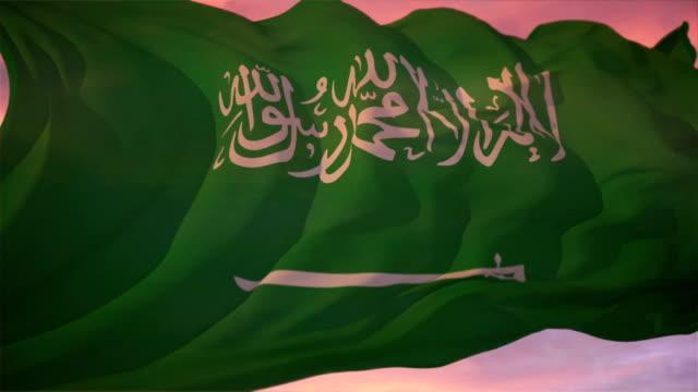 vídeos de stock e filmes b-roll de bandeira da arábia saudita - arábia saudita