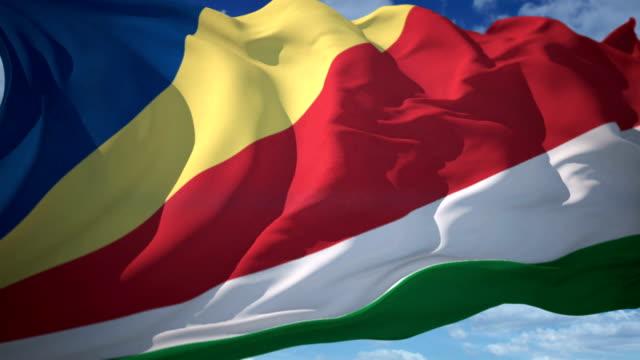 vídeos y material grabado en eventos de stock de bandera de seychelles - seychelles