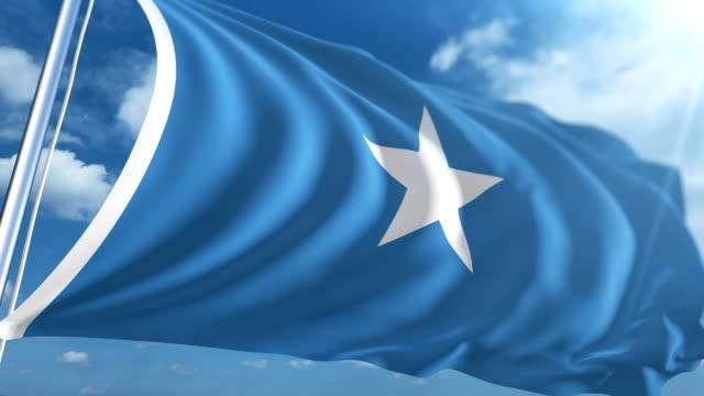stockvideo's en b-roll-footage met vlag van somaila   loopbare - paalzitten