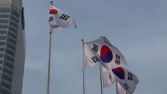 flag of south korea flapping during the day - seoul stock videos & royalty-free footage
