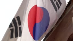 Flag of South Korea flapping during the day
