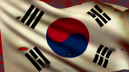 Flag of South Korea waving at battlefield