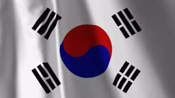 """Flag of South Korea waving in the wind. Background. A series of """"Flags of the world."""""""