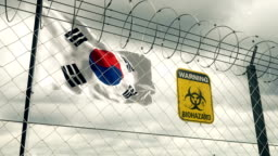 Flag of South Korea with Biohazard sign warning of quarantine. Loopable.