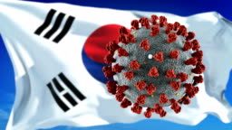 Flag of South Korea with outbreak deadly coronavirus covid-19. Loopable