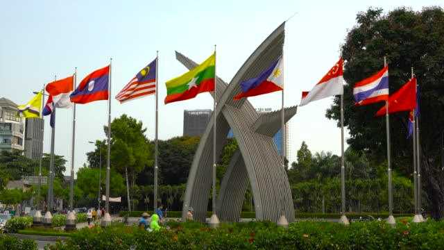 flag of southeast asian nations - asean - association of southeast asian nations. - association of southeast asian nations stock videos & royalty-free footage
