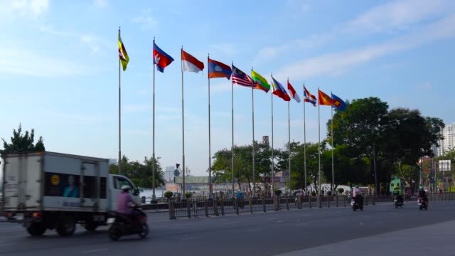 vídeos de stock e filmes b-roll de flag of southeast asian nations - asean - association of southeast asian nations. - bandeira indonésia
