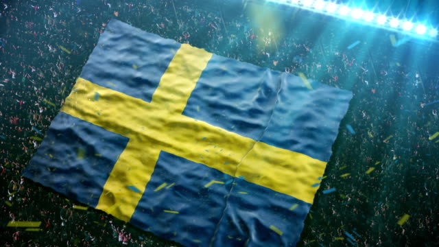 Flag of Sweden at the stadium