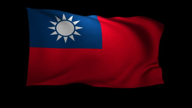 cgi flag of taiwan waving against black background - taiwanese flag stock videos & royalty-free footage