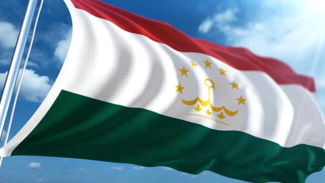 stockvideo's en b-roll-footage met vlag van tadzjikistan   loopbare - paalzitten