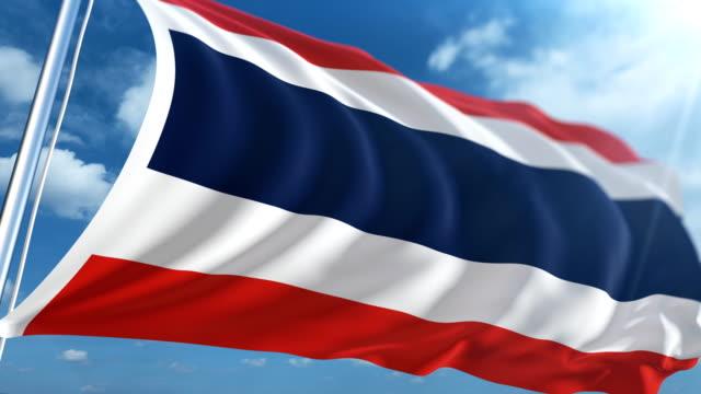 stockvideo's en b-roll-footage met vlag van thailand   loopbare - paalzitten