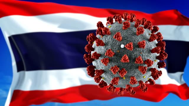 発生致命的なコロナウイルスcovid-19とタイの旗。ループ可能 - 世界の国旗点の映像素材/bロール