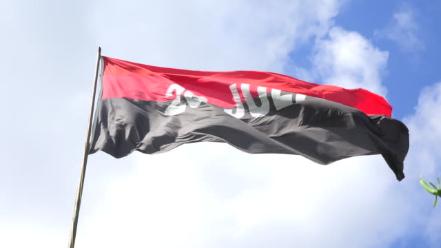 vídeos de stock, filmes e b-roll de flag of the 26th july movement waving flying in daytime - número 26
