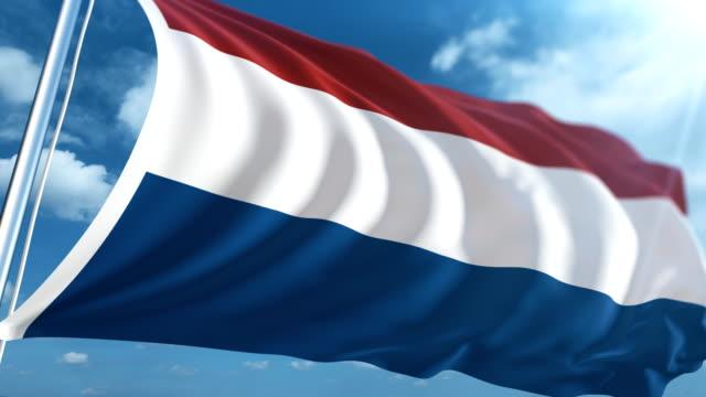 stockvideo's en b-roll-footage met vlag van nederland   loopbare - paalzitten
