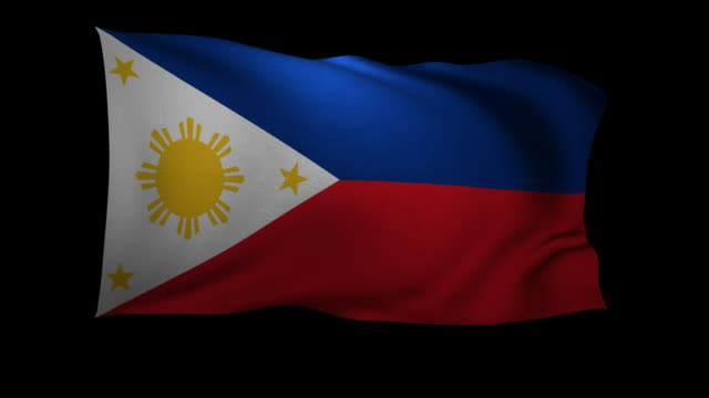 cgi flag of the philippines waving against black background - philippines flag stock videos & royalty-free footage