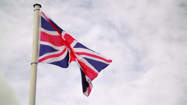 Flag of the United Kingdom. Slow Motion