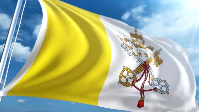 stockvideo's en b-roll-footage met vlag van vaticaanstad   loopbare - paalzitten