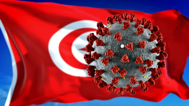 flag of tunisia with outbreak deadly coronavirus covid-19. loopable - tunisia stock videos & royalty-free footage