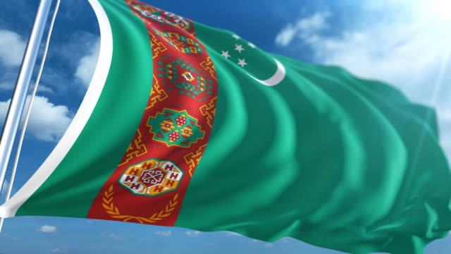 stockvideo's en b-roll-footage met vlag van turkmenistan   loopbare - paalzitten
