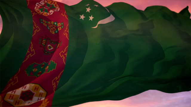 flag of turkmenistan - association of southeast asian nations stock videos & royalty-free footage