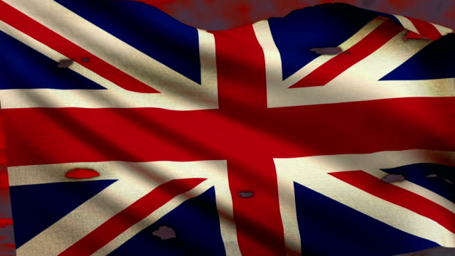 Flag of United Kingdom waving at battlefield