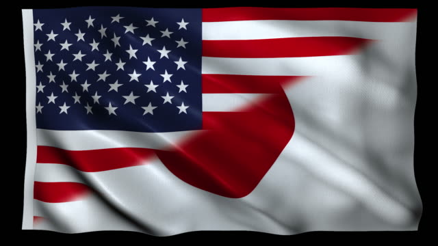 4k flag of usa and japan alpha loop - national flag stock videos & royalty-free footage