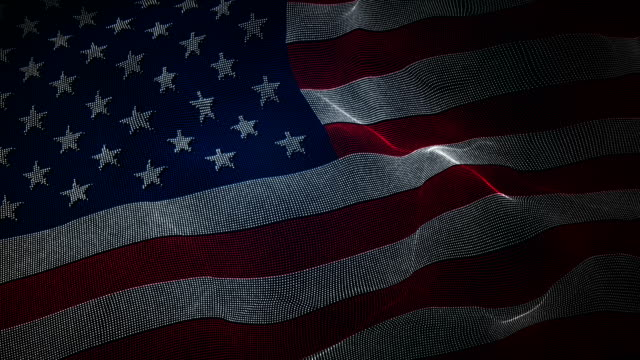vídeos de stock e filmes b-roll de flag of usa - digital binary code background loop - patriotismo