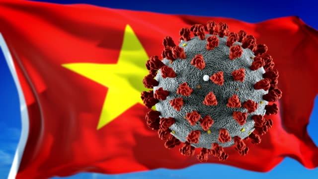 flag of vietnam with outbreak deadly coronavirus covid-19. loopable - vietnam stock videos & royalty-free footage
