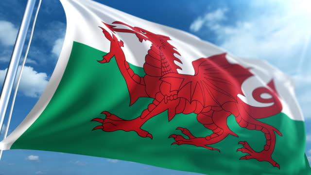 stockvideo's en b-roll-footage met vlag van wales   loopbare - paalzitten