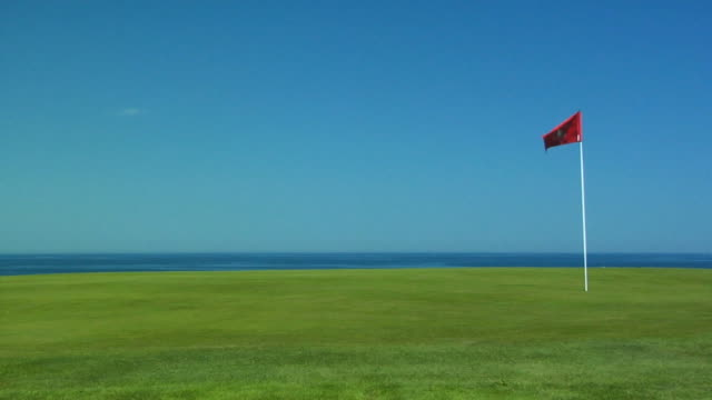 MS, Flag on golf course, North Truro, Massachusetts, USA