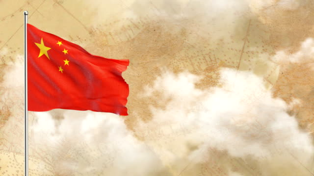 3d flag on  historical background then blue sky background - chinese flag stock videos and b-roll footage