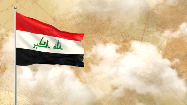 3d flag on  historical background then blue sky background - iraqi flag stock videos and b-roll footage