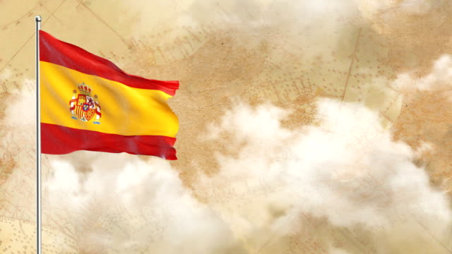 3d flag on  historical background then blue sky background - spanish flag stock videos and b-roll footage